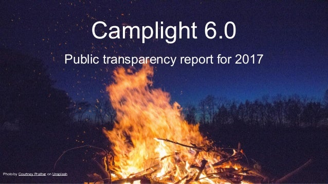 Camplight 6.0 Public transparency report for 2017 Photo by Courtney Prather on Unsplash