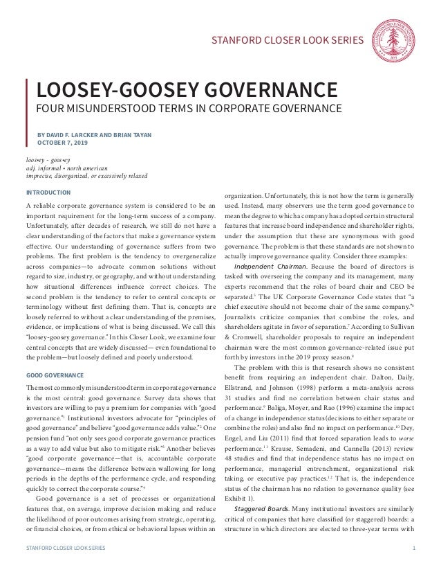 Stanford Closer LOOK series Stanford Closer LOOK series 1 By David F. Larcker and brian tayan October 7, 2019 loosey-goose...