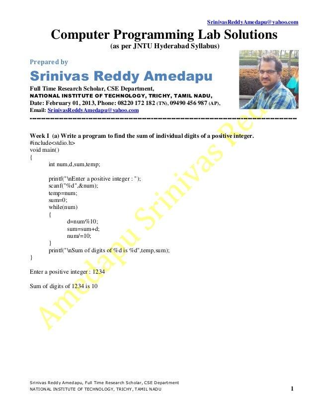 SrinivasReddyAmedapu@yahoo.com         Computer Programming Lab Solutions                                   (as per JNTU H...
