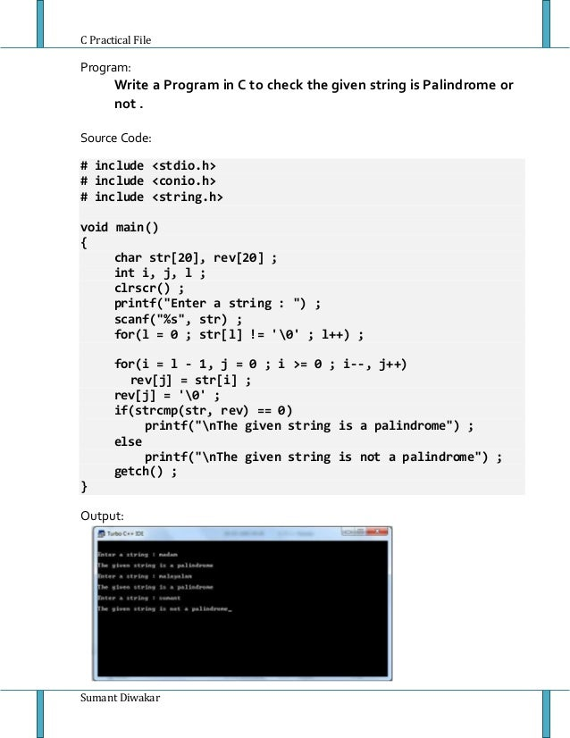 Write A Palindrome Program In C System