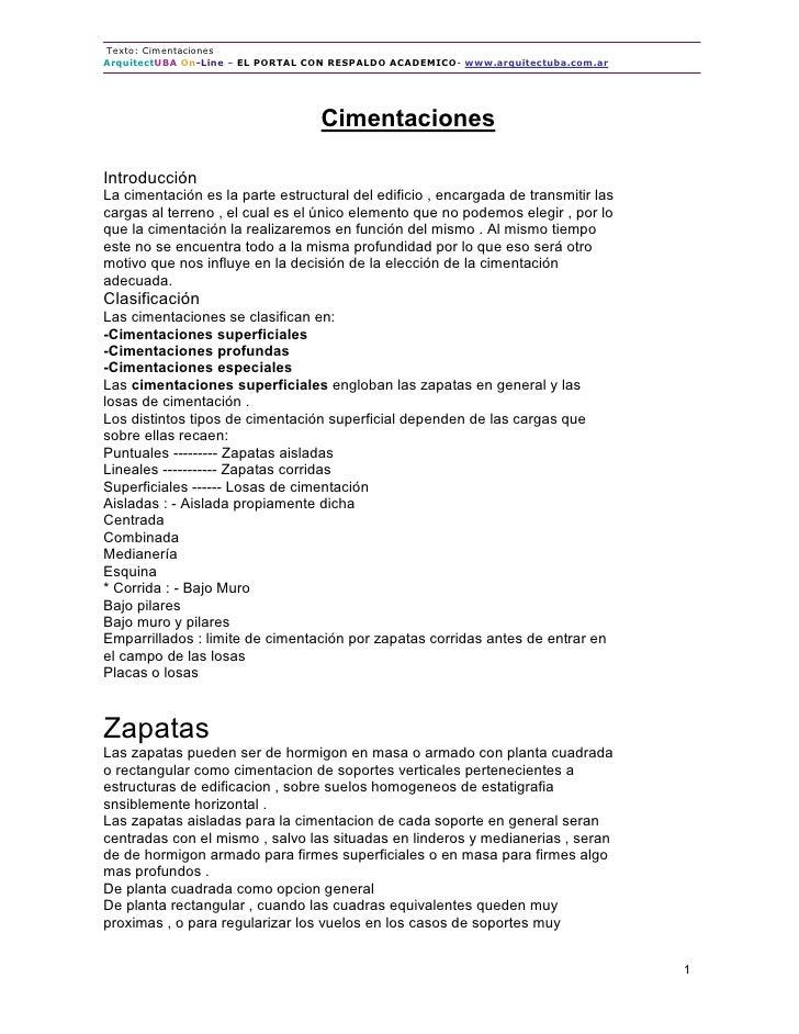 Texto: Cimentaciones ArquitectUBA On-Line – EL PORTAL CON RESPALDO ACADEMICO- www.arquitectuba.com.ar                     ...