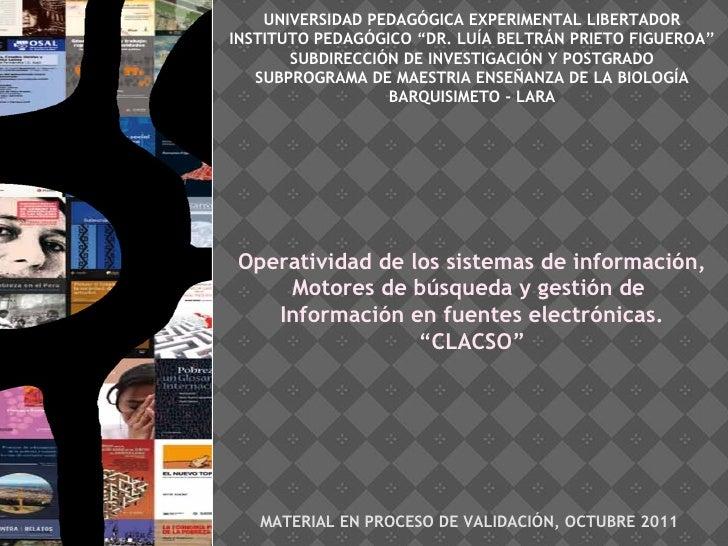 """UNIVERSIDAD PEDAGÓGICA EXPERIMENTAL LIBERTADOR INSTITUTO PEDAGÓGICO """"DR. LUÍA BELTRÁN PRIETO FIGUEROA"""" SUBDIRECCIÓN DE INV..."""
