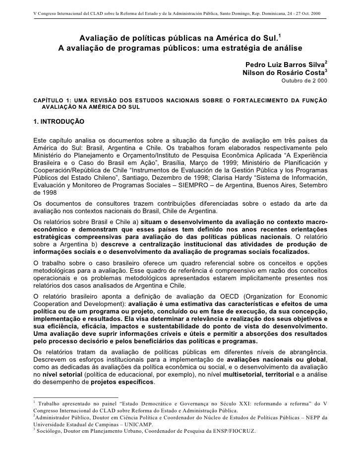 V Congreso Internacional del CLAD sobre la Reforma del Estado y de la Administración Pública, Santo Domingo, Rep. Dominica...