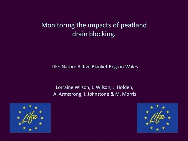 Monitoring the impacts of peatland         drain blocking.   LIFE-Nature Active Blanket Bogs in Wales    Lorraine Wilson, ...