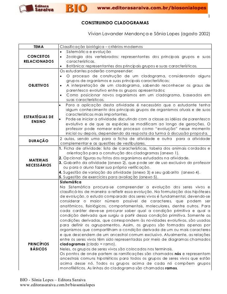 1                                CONSTRUINDO CLADOGRAMAS                                     Vívian Lavander Mendonça e Sô...