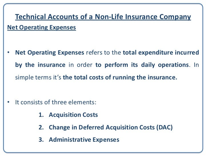 Technical Accounts of a Non-Life Insurance CompanyNet Operating Expenses1. Acquisition Costs – costs relating to acquire a...