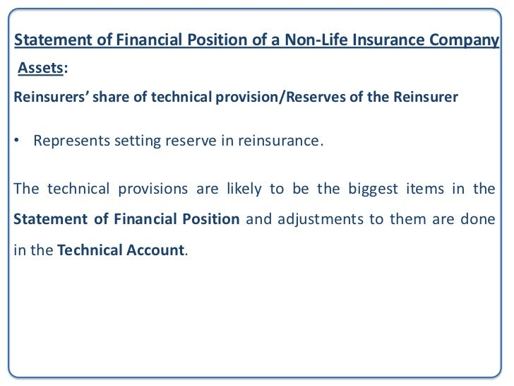 Statement of Financial Position of a Non-Life Insurance CompanyAssets:Reinsurers' share of technical provision/Reserves by...