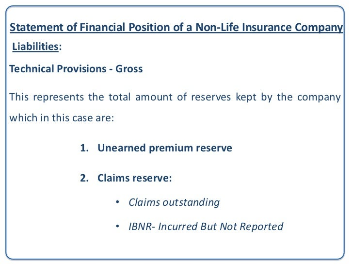 Statement of Financial Position of a Non-Life Insurance CompanyLiabilities:Technical Provisions - Gross                   ...