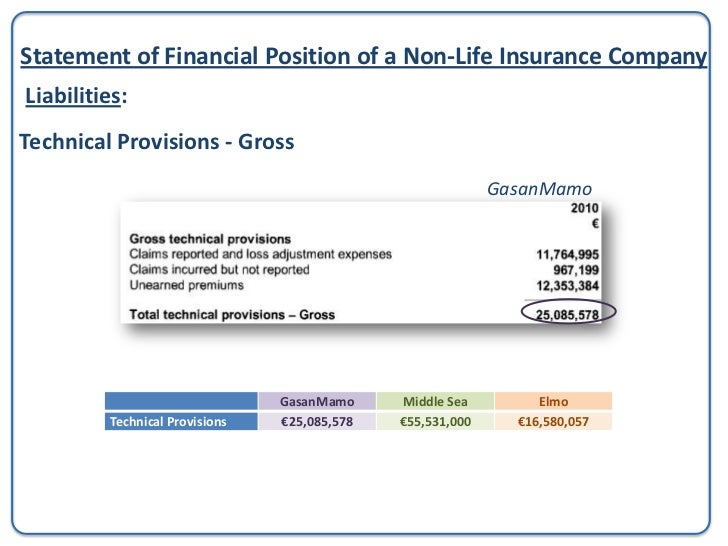 Statement of Financial Position of a Non-Life Insurance CompanyLiabilities: Payables                                      ...