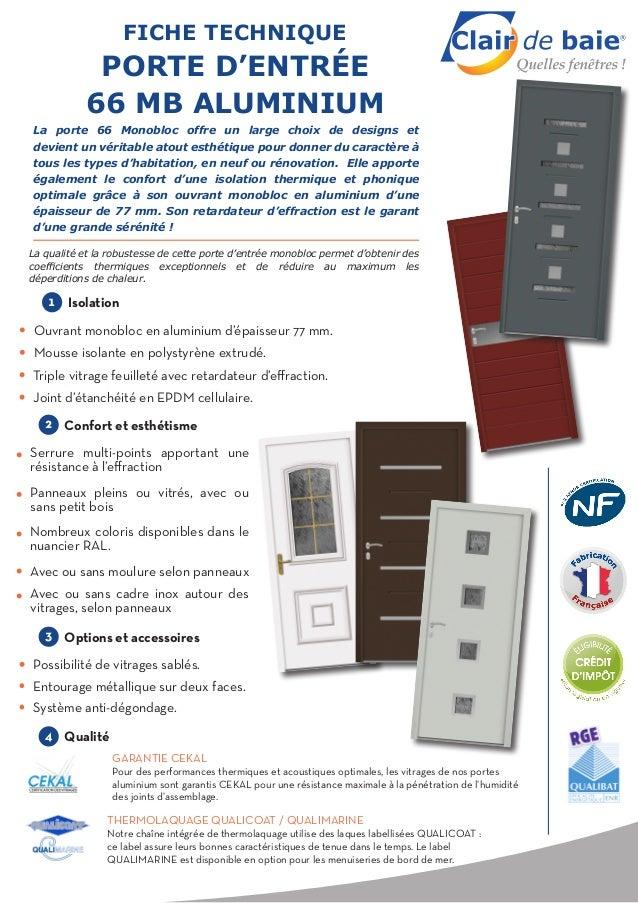 Clair de baie fiche technique porte d 39 entr e 66 mb aluminium - Porte coulissante scrigno fiche technique ...