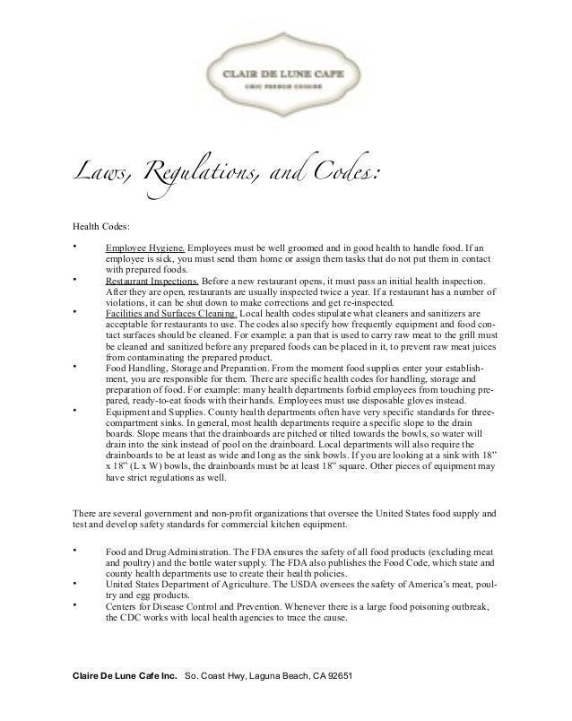Restaurant Kitchen Rules And Regulations clair de lune restaurant proposal