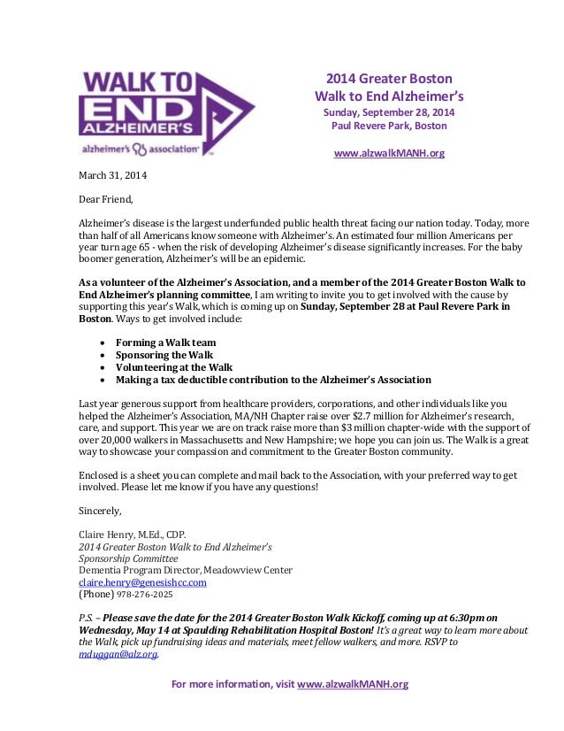March 31, 2014 Dear Friend, Alzheimer's disease is the largest underfunded public health threat facing our nation today. T...