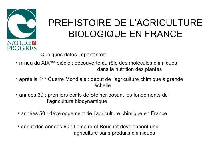 PREHISTOIRE DE L'AGRICULTURE                  BIOLOGIQUE EN FRANCE            Quelques dates importantes: • milieu du XIXè...