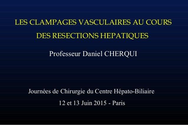 LES CLAMPAGES VASCULAIRES AU COURS DES RESECTIONS HEPATIQUES Professeur Daniel CHERQUI Journées de Chirurgie du Centre Hép...