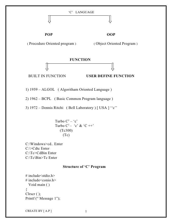 'C' LANGUAGE            POP                                     OOP ( Procedure Oriented program )           ( Object Orie...