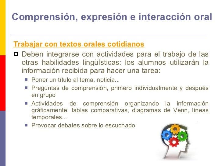 Comprensión, expresión e interacción oral <ul><li>Trabajar con textos orales cotidianos   </li></ul><ul><li>Deben integrar...