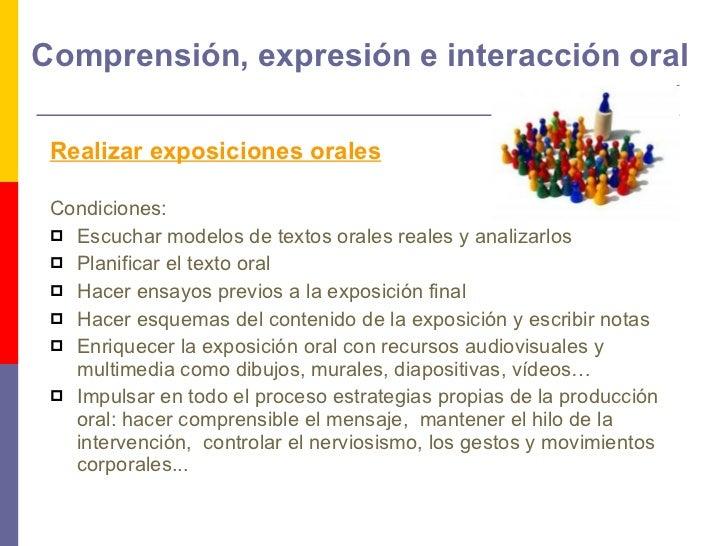 Comprensión, expresión e interacción oral <ul><li>Realizar exposiciones orales   </li></ul><ul><li> </li></ul><ul><li>Con...