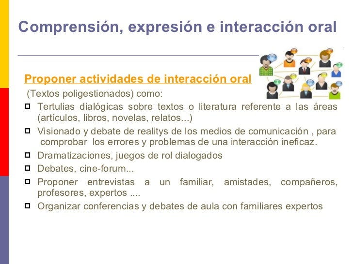 Comprensión, expresión e interacción oral <ul><li>Proponer actividades de interacción oral   </li></ul><ul><li>(Textos pol...