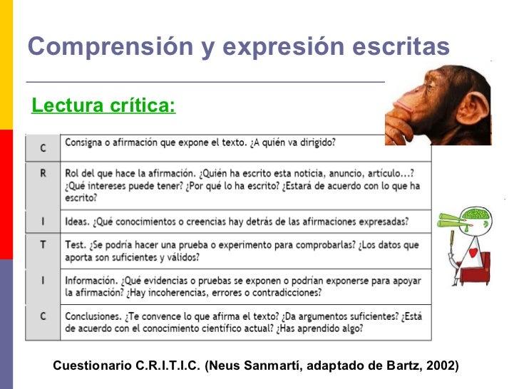 Comprensión y expresión escritas <ul><li>Lectura crítica: </li></ul>Cuestionario C.R.I.T.I.C. (Neus Sanmartí, adaptado de ...