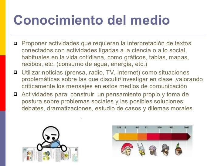 Conocimiento del medio <ul><li>Proponer actividades que requieran la interpretación de textos conectados con actividades l...