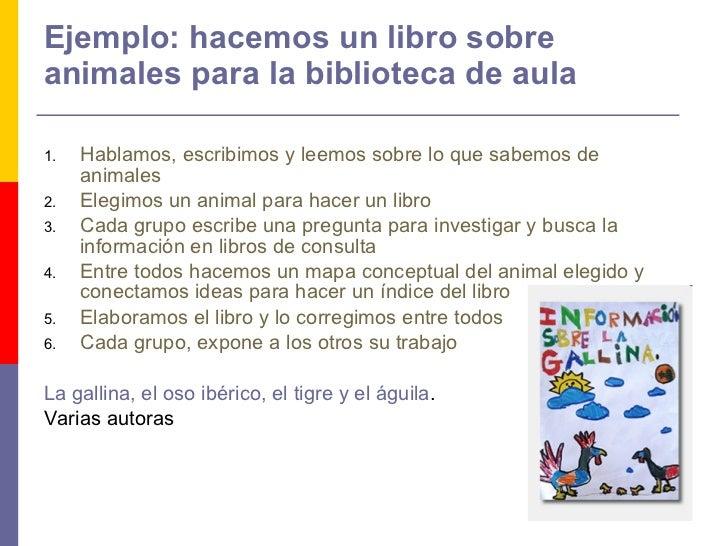 Ejemplo: hacemos un libro sobre animales para la biblioteca de aula <ul><li>Hablamos, escribimos y leemos sobre lo que sab...