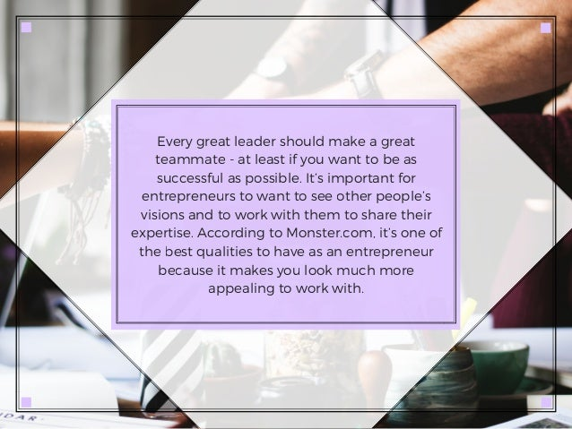 Every great leader should make a great teammate - at least if you want to be as successful as possible. It's important for...