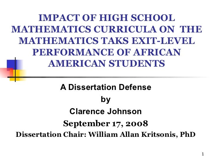IMPACT OF HIGH SCHOOL MATHEMATICS CURRICULA ON  THE MATHEMATICS TAKS EXIT-LEVEL PERFORMANCE OF AFRICAN AMERICAN STUDENTS A...