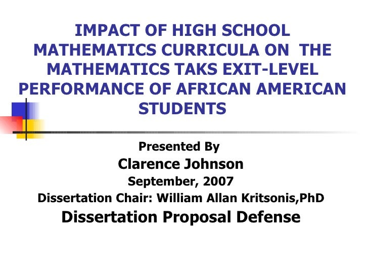 IMPACT OF HIGH SCHOOL MATHEMATICS CURRICULA ON  THE MATHEMATICS TAKS EXIT-LEVEL PERFORMANCE OF AFRICAN AMERICAN STUDENTS P...