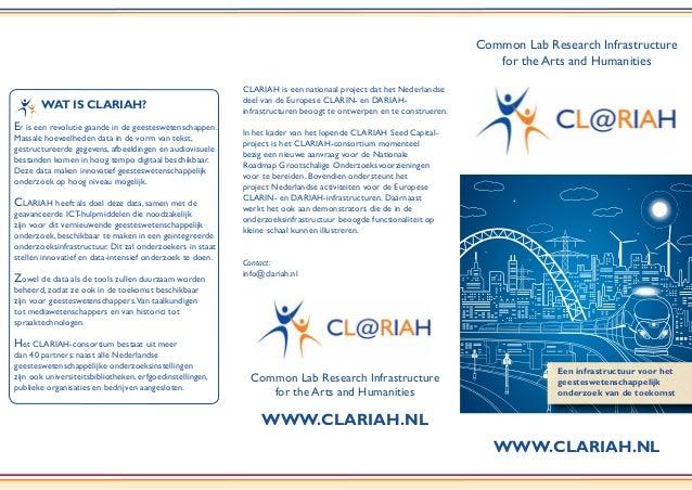 WWW.CLARIAH.NL Common Lab Research Infrastructure for the Arts and Humanities Een infrastructuur voor het geesteswetenscha...