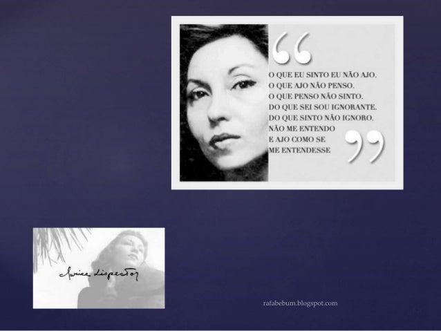 Clarice Lispector  {  3.ª geração modernista no Brasil