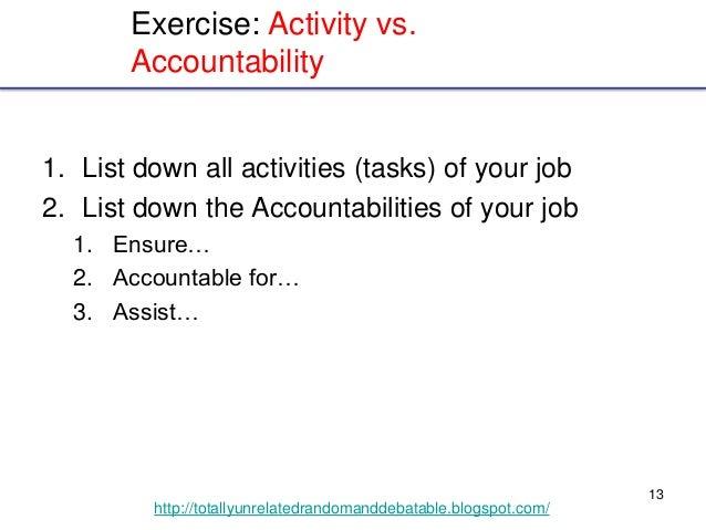 13 http://totallyunrelatedrandomanddebatable.blogspot.com/ Exercise: Activity vs. Accountability 1. List down all activiti...