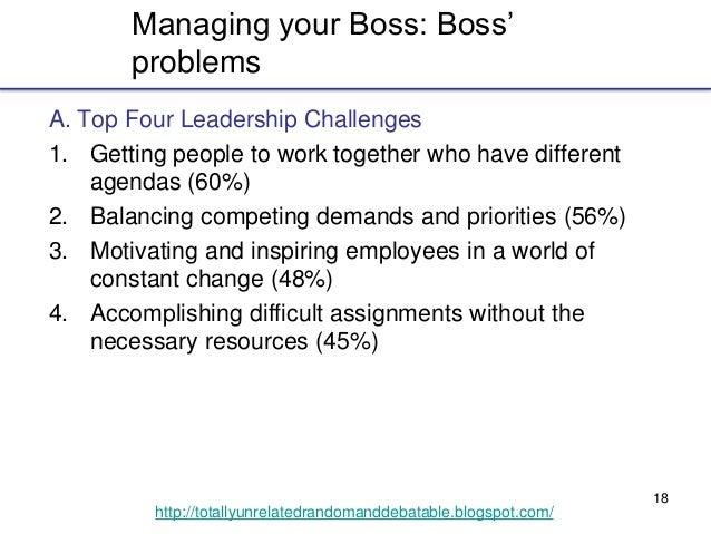 18 http://totallyunrelatedrandomanddebatable.blogspot.com/ Managing your Boss: Boss' problems A. Top Four Leadership Chall...