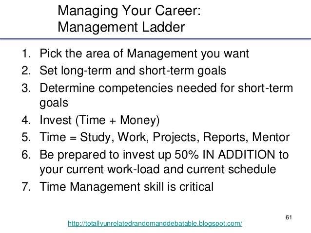 61 http://totallyunrelatedrandomanddebatable.blogspot.com/ Managing Your Career: Management Ladder 1. Pick the area of Man...