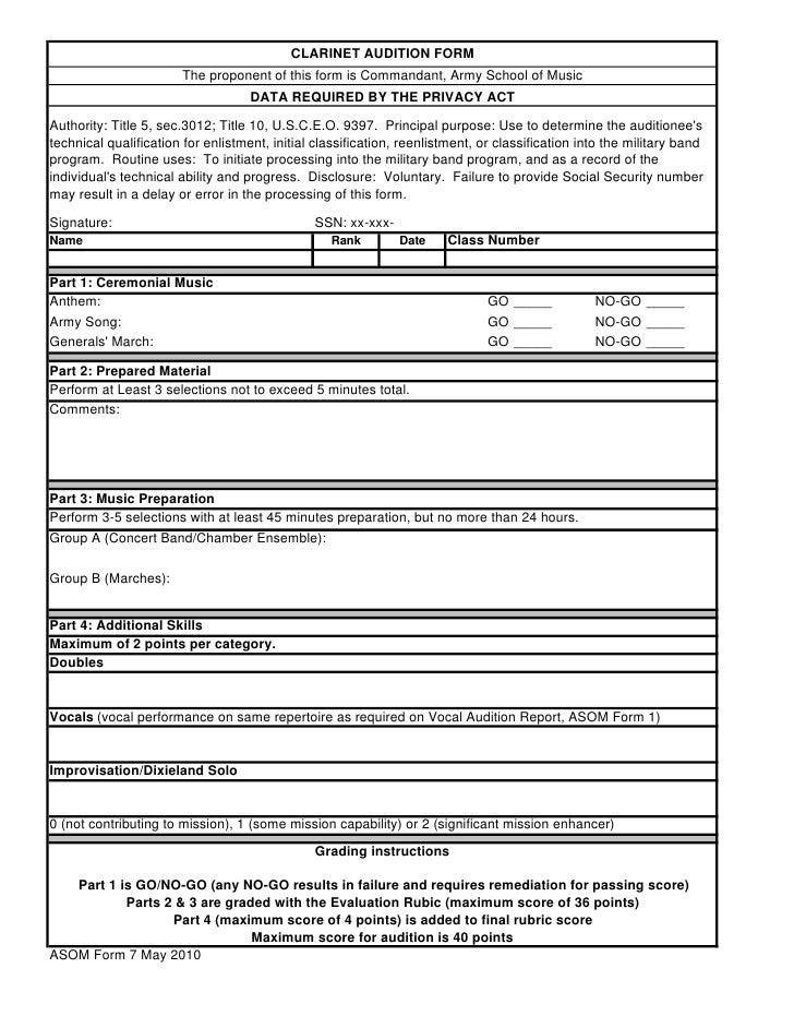 Clarinet audition form – Audition Form