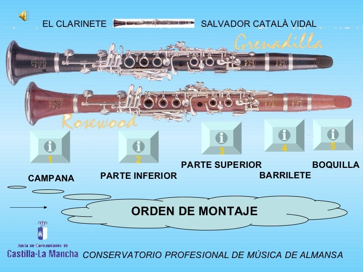 1 2 3 4 5 CAMPANA PARTE INFERIOR PARTE SUPERIOR BARRILETE BOQUILLA ORDEN DE MONTAJE