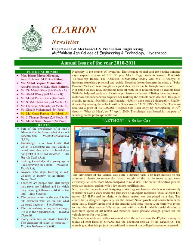 1 CLARION Newsletter Department of Mechanical & Production Engineering Muffakham Jah College of Engineering & Technology, ...