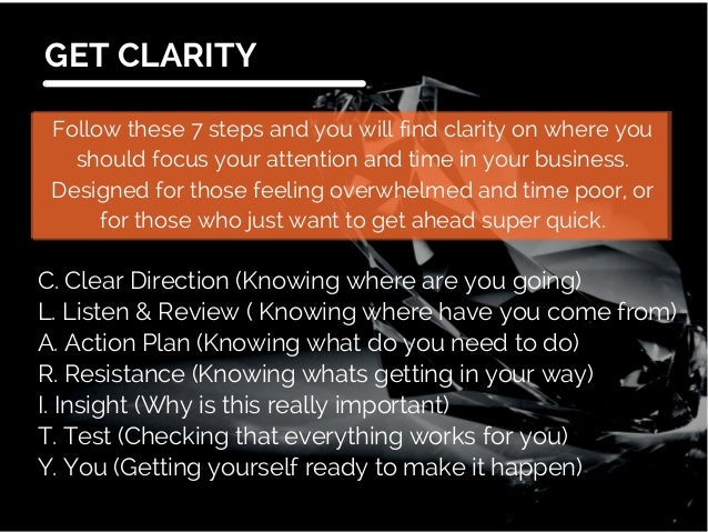The 7 Steps to Clarity Slide 2