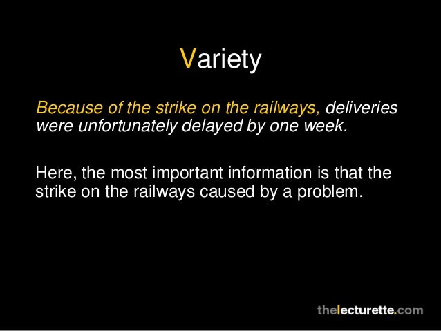 VarietyBecause of the strike on the railways, deliverieswere unfortunately delayed by one week.Here, the most important in...