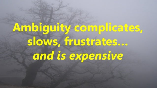 Ambiguity complicates, slows, frustrates… and is expensive