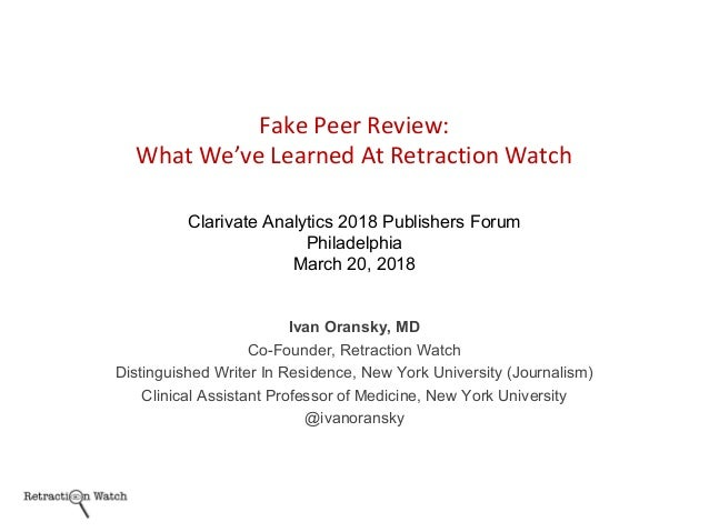 Ivan Oransky, MD Co-Founder, Retraction Watch Distinguished Writer In Residence, New York University (Journalism) Clinical...