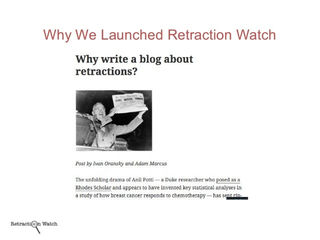Why We Launched Retraction Watch