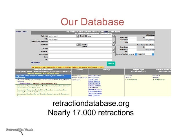 Our Database retractiondatabase.org Nearly 17,000 retractions