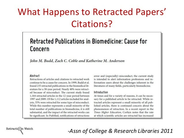 What Happens to Retracted Papers' Citations? -Assn of College & Research Libraries 2011