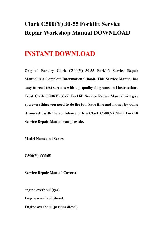 Clark c500 25 Forklift Manual