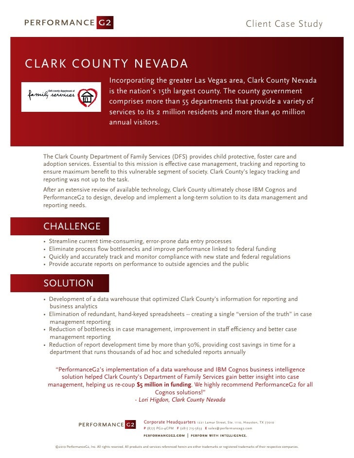 Client Case Study    C L A R K COUNTY NEVADA                                              Incorporating the greater Las Ve...