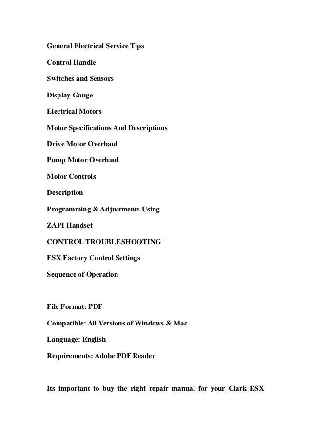 Clark ESX 12-25 Forklift Service Repair Workshop Manual DOWNLOAD on transformer schematics, circuit schematics, ignition schematics, computer schematics, generator schematics, motor schematics, piping schematics, ductwork schematics, ecu schematics, engineering schematics, ford diagrams schematics, design schematics, electronics schematics, transmission schematics, electrical schematics, wire schematics, plumbing schematics, amplifier schematics, tube amp schematics, engine schematics,