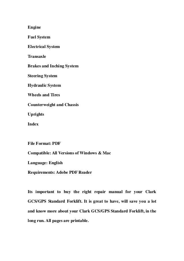 clark gcs gps standard forklift service repair workshop manual downlo rh slideshare net Downloadable Online Chevrolet Repair Manuals Downloadable Online Chevrolet Repair Manuals