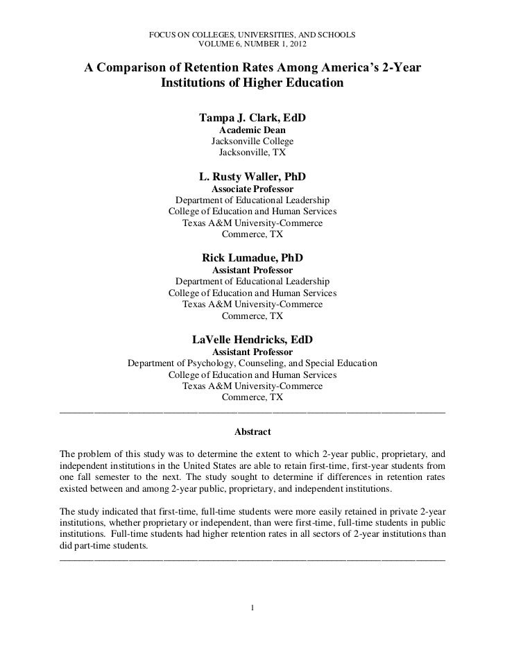 FOCUS ON COLLEGES, UNIVERSITIES, AND SCHOOLS                                 VOLUME 6, NUMBER 1, 2012      A Comparison of...