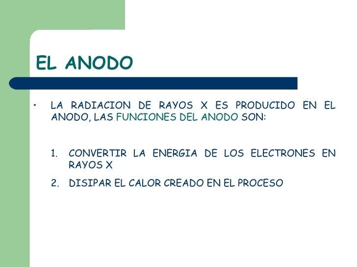 EL ANODO <ul><li>LA RADIACION DE RAYOS X ES PRODUCIDO EN EL ANODO, LAS  FUNCIONES DEL ANODO  SON: </li></ul><ul><ul><li>CO...