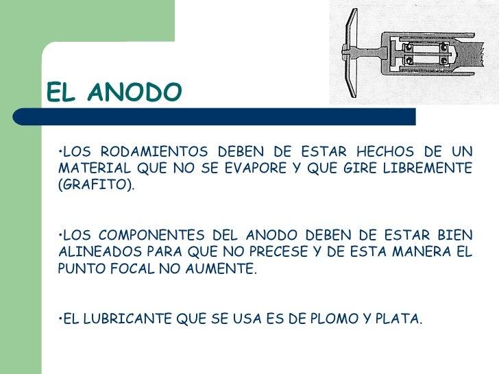 EL ANODO <ul><li>LOS RODAMIENTOS DEBEN DE ESTAR HECHOS DE UN MATERIAL QUE NO SE EVAPORE Y QUE GIRE LIBREMENTE (GRAFITO). <...